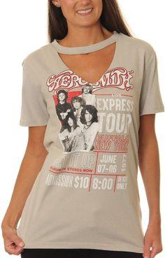 Asstd National Brand Aerosmith Juniors' Live Express Tour Cutout V-Neck Short Sleeve Graphic T-Shirt