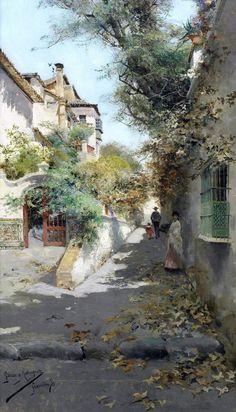 Street scene in Granada, 1890  Manuel García y Rodríguez (1863 - 6 May 1925) was a Spanish landscape painter. Beauty in Art
