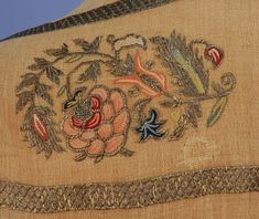 TURKISH SILK and METALLIC EMBROIDERED SCARF, 19th C. Three joined panels of ivory cotton gauze having a double border with polychrome floral repeat and metallic silver bands. 24 x 62. (Minor holes and spots, small mend) good. MMA. $1,020.
