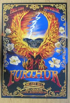 Original silkscreen concert poster for Furthur at The Bill Graham Auditorium in San Francisco, CA for New Years Eve in 2012.