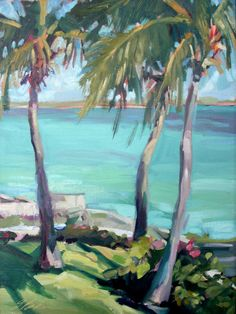Ocean Landscape Oil Painting, Ocean with Palm Trees, oil painting on artist board
