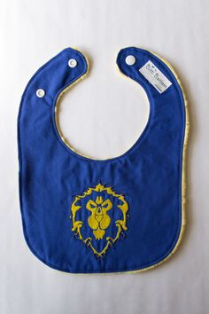 Also available in Horde. Again, my ovaries! // World of Warcraft Alliance Baby Bib, Gaming Baby Bib, Nerdy Baby Gift, Baby Shower Gift Ideas