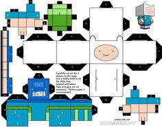 Finn Cubecraft by PinkiGummie on DeviantArt 3d Paper, Origami Paper, Paper Toys, Kirigami, Adventure Time Parties, Super Hero Costumes, Paper Models, Printable Paper, South Park