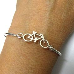 Silver Mountain Bicycle Bangle Bracelet - Bike Chain Cycling Charm Jewelry - Mountain Bike Bracelet Bangle