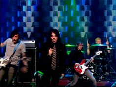 Frank: im gonna play like a boss, so guys, lets all act serious Mikey: oh yeah im so cool Bob: whats this over here Gerard: this air is so tasty Frank: GRAVITY DON'T MEAN TO MUCH TO ME BYATCH