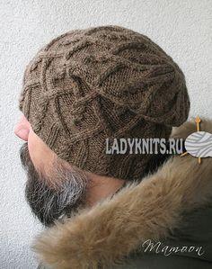 """Вязаная спицами мужская шапка """"Агатис"""""""