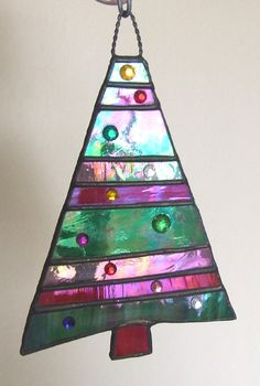 Iridescent Stained Glass Christmas Tree With Jewel Ornaments