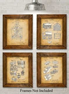 """Original Toys Patent Art Prints - Set of Four Photos (8x10) Unframed. Bring a little whimsy to your household. These four prints show patents filed between 1920 and 1961. The original patent artwork has been reinterpreted by award winning artist Norm Lanier. * HOW FUN - These prints are guaranteed to be a great addition to any room. * READY TO FRAME - You get four 8"""" x 10"""" prints. 8"""" x 10"""" frames are super easy to buy here on Amazon or at any department or craft store. Choose the frames…"""