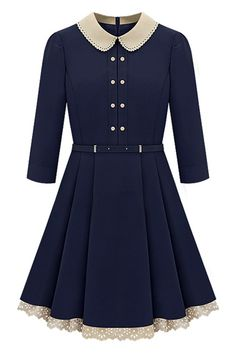 Double-breasted Belted Pleated Dark-blue Dress