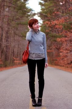 black jeans. grey sweater. plaid button down. gingham button down. black ankle boots.