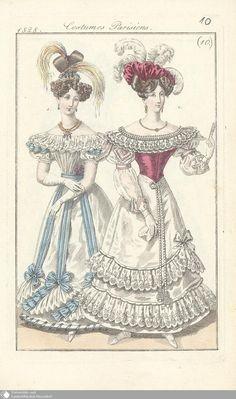 21 - (10.) Costumes Parisiens. - Petit courrier des dames - Seite - Digitale Sammlungen - Digitale Sammlungen