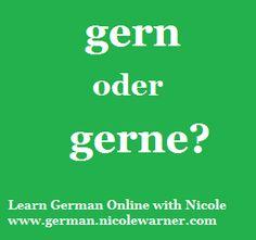 Learn German Online with Nicole German Grammar, German Words, German Language, Learning German, Learn Another Language, German English, Language Lessons, Sentences, Frases