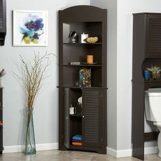 THIS ITEM WILL ARRIVE IN 8-15 DAYS AND ONLY SHIPS TO THE CONTINUOUS UNITED STATES. This Espresso Bathroom Linen Tower Corner Towel Storage Cabinet with 3 Open S