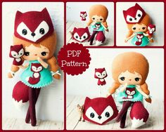 PDF.+Fox+girl+with+mask+and+puppet+.Plush+Doll+Pattern+by+Noialand,+$7.00