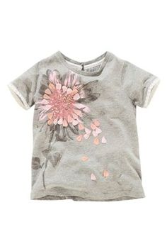 Buy Grey Embellished Flower Short Sleeve Top (3mths-6yrs) from the Next UK online shop