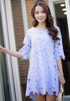 Blue Plain Lace Hollow-out Elbow Sleeve Chiffon Dress