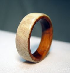 Antler and Wood Ring  Lignum Vitae and Deer Antler by Endeavours