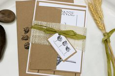 Vintage Style Engraved Botanical Tulip Natural Wedding Invitation Suite by Lemon Square Designs.