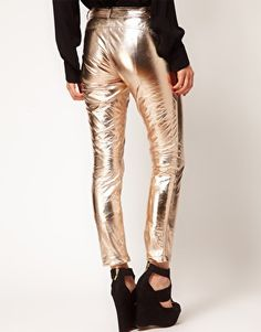 Enlarge ASOS PETITE Exclusive Rose Gold Leather Trousers