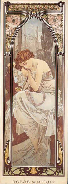 The Times Of Day, Night's Rest by Alphonse Mucha -- beautiful Art Nouveau illustration Mucha Art Nouveau, Alphonse Mucha Art, Art Nouveau Poster, Art And Illustration, Arte Art Deco, Art Amour, Kunst Poster, Inspiration Art, Art Moderne