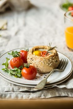 Breakfast bread bowls with eggs