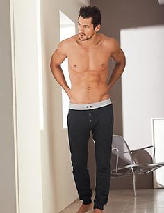 Who doesn't want these granite coloured cotton vintage style, button long pants after David Gandy is wearing them in this picture.
