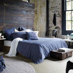 Indigo bedroom. Rustic industrial bedroom decor.