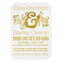 Gold foil ampersand and scroll leaf floral wedding invitation. #weddinginvitations, #weddinginvites, #goldfoil, #ampersand