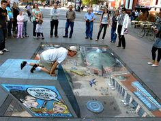 Julian Beever | 3D illusions pavement drawings | amazing anamorphic illusions