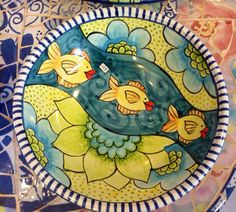 Damariscotta Pottery serving bowl painted by Amy