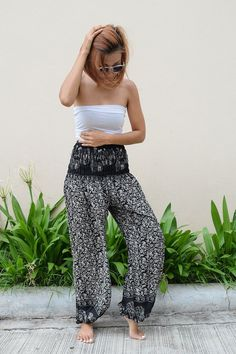 High Waist Thai Pants Mini Elephant Design Black & light Gray