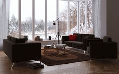 Modern Living Room Design Comes with the Beautiful Appearance: Creative Inspiring Living Rooms Ideas Brown Sofa Wooden Floor ~ anahitafurniture.com Living Room Inspiration