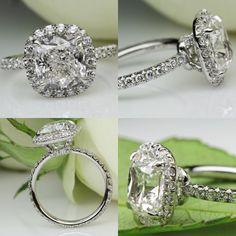 Cushion Diamond Halo Ring by David Klass Jewelry Cushion Diamond, Halo Diamond, Halo Rings, Fine Jewelry, David, Engagement Rings, Instagram Posts, Wedding, Enagement Rings