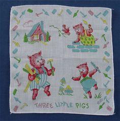 """Vintage CHILD'S Children Hanky THREE LITTLE PIGS  HANDKERCHIEF 8 1/2"""""""