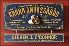 Vintage style old-fashioned wood plaque designed for the home of a Brand Ambassador. Hand distressed and made in the USA with premium craftsmanship.