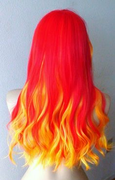 Red Yellow Ombre colored wig. Long wavy hair wig.. $118.80, via Etsy.