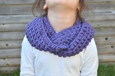 Skinny Purple Wool Scarf Crochet Wrap Around Cowl by FarahsAttic, $12.00