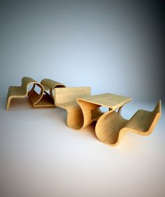 WOOD PICNIC BENCHES  http://thatslikewhoa.com/warped-wood-picnic-benches/