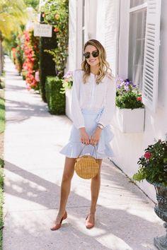 Seersucker stripe, ruffle skirt, circle bag, eyelet top, spring style