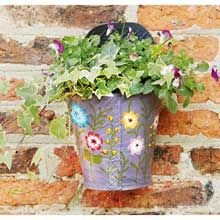 Purple Recycled Tyre Wall Planter