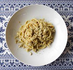 Linguine au pesto de coeurs d'artichauts Linguine, Food Inspiration, Pesto, Spaghetti, Cooking, Ethnic Recipes, Food, Recipes, Kitchens