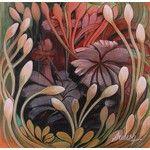 NOVICA Original India Peaceful Garden Painting in Oils