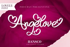 Angelove is a fun and clean script font made with the intention of being used for gift products or greeting. Script Logo, Handwritten Fonts, Typography Fonts, Lettering, Great Fonts, Cool Fonts, New Fonts, Awesome Fonts, Creative Fonts