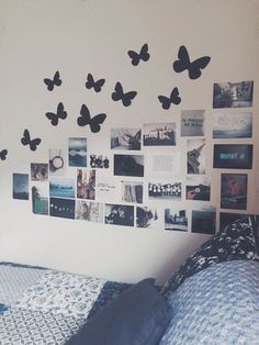 "wall ideas - I have butterflies like this on my wall! I like the idea of black, butterfly ""silhouettes"". very cool"