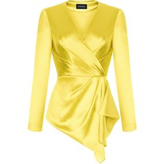 rasario   Moda Operandi ($1,015) ❤ liked on Polyvore featuring yellow ruffle top, frilly blouse, ruffle top, v neck tops and v neck ruffle top