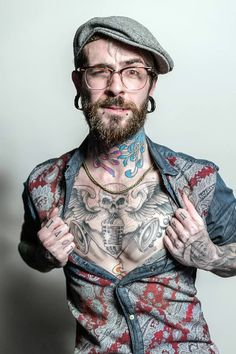 10 Bold & Unique Beard Plus Tattoo Styles for Men Time Tattoos, Tattoo You, Neck Tattoos, Tattos, Neck Tattoo For Guys, Tattoos For Guys, Johnny Depp, Flower Neck Tattoo, Tatto Boys
