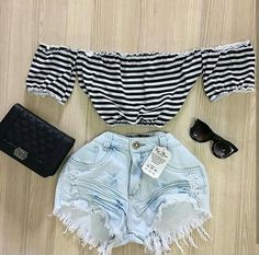 Cute Casual Outfits, Short Outfits, Chic Outfits, Summer Outfits, Fashion Clothes, Teen Fashion, Fashion Women, Fashion Outfits, Look Con Short