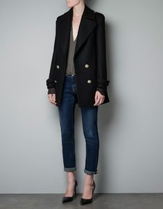 SHORT MILITARY COAT - Coats - Woman - ZARA United States