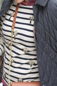 Plaid + Stripe Jeweled + Quilted jacket  {Burberry, J.Crew, Tory Burch} The perfect trio Upstatetocityliving.blogspot.com