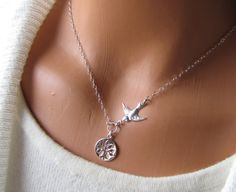 Roots To Grow Wings To Fly Tree And Bird Necklace Mother Gift For Daughter Children Wedding Sterling Silver Jewelry Roots And Wings, Graduation Jewelry, Mother Daughter Necklace, Silver Wings, Bird Necklace, Wedding With Kids, Beautiful Watches, Mother Gifts, Sterling Silver Chains